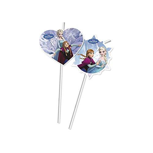 Unique Party Disney La Reine des neiges fête pailles, Lot de 6en Bleu Clair