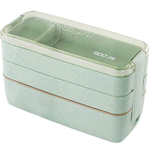 ZUEN Bento Box, 3-Layer Small Capacity Microwave Tableware Food Storage Container Lunch Box,Green Green Food Storage