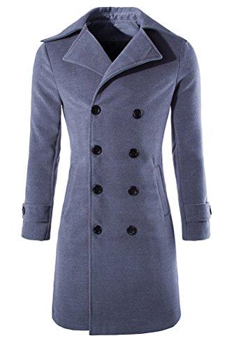 Brinny Hommes classique à double boutonnage manteau épaissi Veste longue trench pour hiver Gris