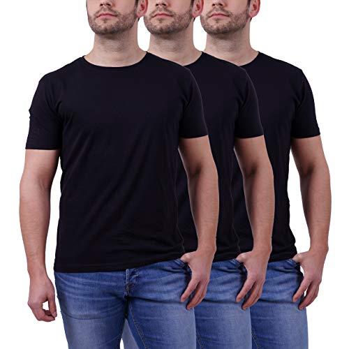 Big Tall Jeans Jacken (Basic T Shirt Herren Tshirt - 3er Pack aus 100% Baumwolle T Shirts Männer T-Shirt einfarbig (Schwarz - Rundhals, XL))