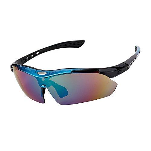 Gosccess Radbrille Fahrradbrille Sonnenbrille Polarisiert UV400 Schutzbrille Radsportbrille mit 5 Wechselbare Linsen Sportbrille