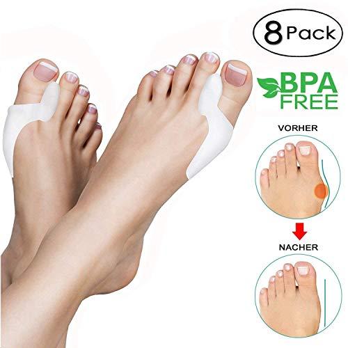 Goodgoodday 8 divaricatori piedi, adatti per il trattamento dell'alluce valgo, molto morbidi, di silicone, infradito, protezione delle dita, per uomo, donna e bambini, 8 pezzi, medium