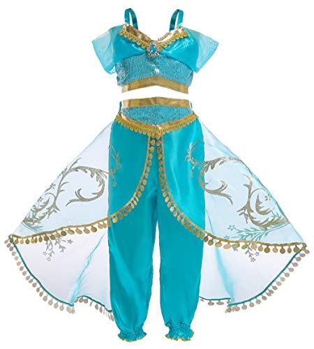 Amzbarley vestito jasmine costume bambina ragazze arabo principessa vestire aladdin costumi festa di compleanno halloween cosplay carnevale abiti