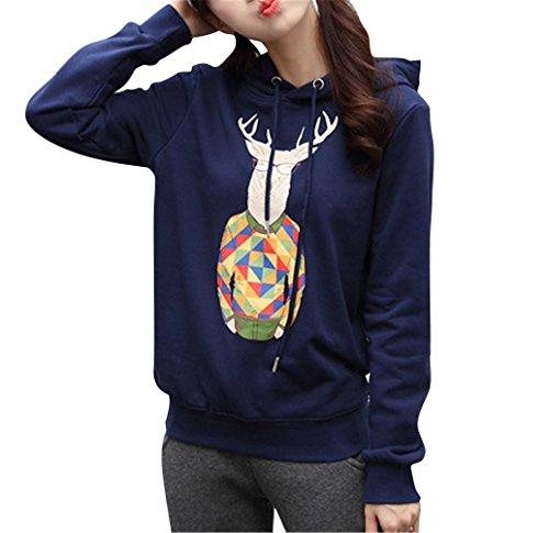 Brinny Lâche Hoody Pullover Femme Fille Les amoureux Capuche sportswear Sweatshirt imprimé Cerf Veste Outerwear Blouson Oversize Gris / Rouge / Bleu Foncé / Noir Bleu Foncé