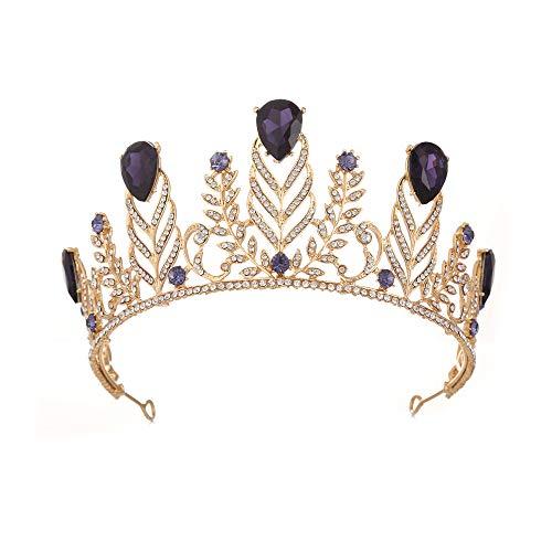 Yangxuelian Prinzessin Krone Krone-Tiara-Abschlussball-Königin-Krone Quinceanera Festzug-Kronen-Prinzessin Crown Rhinestone-Kristallbraut krönt Tiaras für Frauen Krone-Tiara (Color : Purple) -