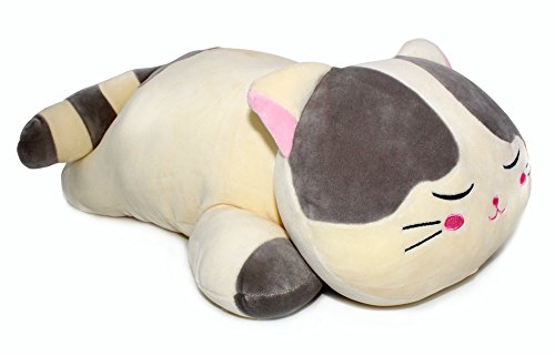 Sleeping Cat Hugging Pillow Stuffed Animals Plush Soft Toy Grey 23.5""