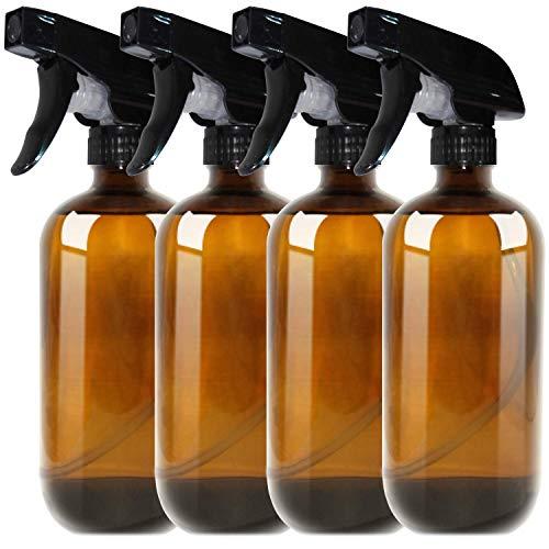 THETIS Botellas de Spray vacías de ámbar Boston de 500ml (4 Paquete de) - Contenedor rellenable con pulverizadores de gatillo, Tapas y Etiquetas, Frasco de Vidrio para aceites Esenciales