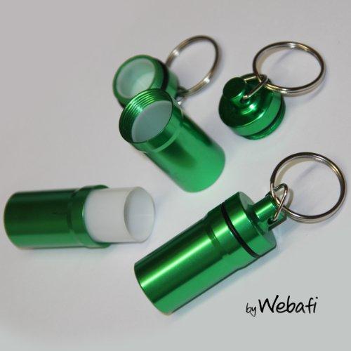 Schlüsselanhänger mit großem Behälter in GRÜN, zB als Pillendose, für Geldscheine o. Kleinteile, wie z.B. Teststreifen, Pillenbox mit Schlüsselring Tablettendose für Medikamente