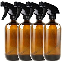 Amber Glass Spray Bottle Boston 4 Pack 455ml (16oz) - Refillable Container with Trigger Sprayers, Caps and lables, Glass Bottle for Essential Oils, Cleaning, Room Spritzers or Aromatherapy