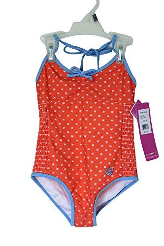 Orangefarbener Badeanzug mit Raffen und elastischem Design für Junge Mädchen von der High Street, Sonnenschutz-Badebekleidung UPF 50+, Badeanzug mit Neckholder und einteiligem Badeanzug (6)