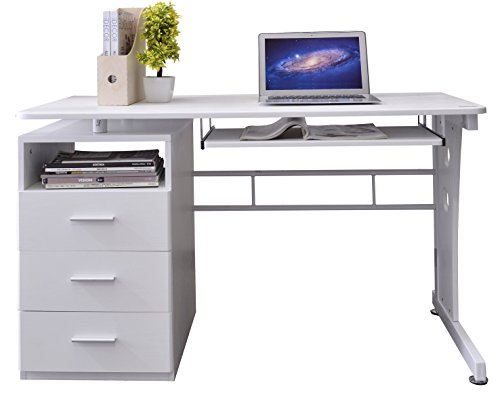 Cheapest Price for SixBros. Computer Desk – PC Workstation – Office Desk – White – S-352/2073 on Amazon