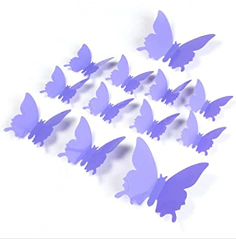 Dojore 12 Pieces 3D Butterfly Wall Decals. PVC Poster Decoration Home Decor Bedroom (Lavender)