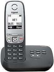 Gigaset A415A Telefon - Schnurlostelefon / Mobilteil mit Grafik Display - Dect-Telefon mit Anrufbeantworter / Freisprechfunktion - Analog Telefon - Schwarz