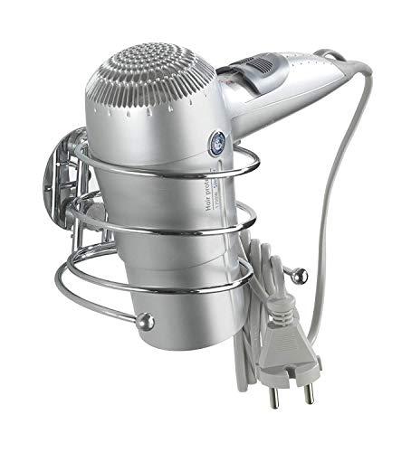 Wenko Turbo-Loc Haartrocknerhalter, Föhnhalterung fürs Badezimmer, mit Kabelhalter, Befestigung ohne bohren, aus verchromtem Stahl, 14 x 7,5 x 11,5 cm
