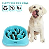 Decyam Pet Fun Feeder Dog Bowl Slow Feeder, Bloat Stop Dog Food Bowl Maze Interactive Puzzle Cat Bowl Non Skid (blue)