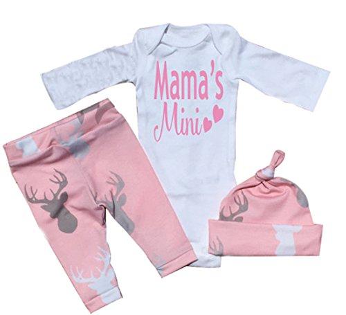 Neugeborenes Baby-Mädchen Junge Spielanzug tops Hirsch Hose Hut Outfit Set Kleidung (0-3 Monate, Rosa)