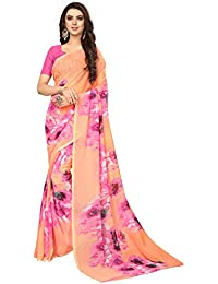 4a690f7825 Softieons E-Commerce Sarees Floral Print Georgette Fashion Saree With Blouse  Piece.(PEACH
