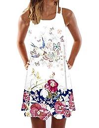 18145968e0f MRULIC Femme Robe Été Taille Haute Bretelles Boheme Floral Imprimé Épaules  Dénudées Casual Mode Robe Grande