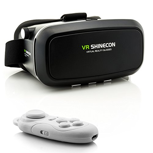 3D VR Brille für Virtual Reality + Bluetooth Controller in Weiß - VR Headset mit Fernbedienung...