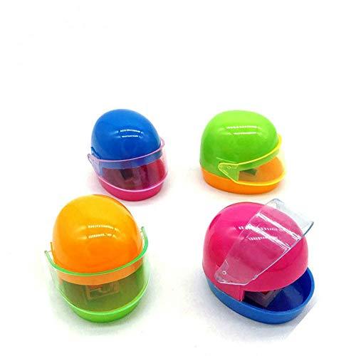 Anspitzer 12 Stücke Helm Form Einloch Bleistiftspitzer Schule Schreibwaren (Zufällige Farbe)