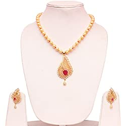 18k gold plated American diamond Ethnic pendant Fashion necklace set with pearl string for Women party & daily wear jewelry