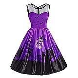 MIRRAY Damen Halloween Lace Vintage O-Ausschnitt Drucken Ärmelloses Party Swing Kleid