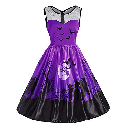 (Damen Vintage O-Neck Print Ärmelloses,TWIFER Madchen Halloween Party Swing Kleid Abendkleider)