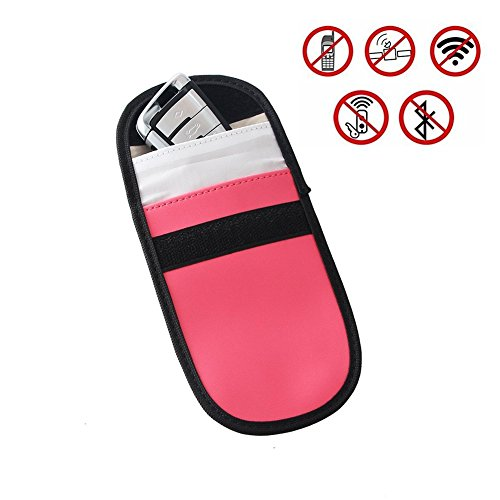 2 X Car Key Signal blocker, Key Signal Fob Blocking Pouch; Steering Wheel Lock And Healthy Cell Phone Privacy Protection (Black)