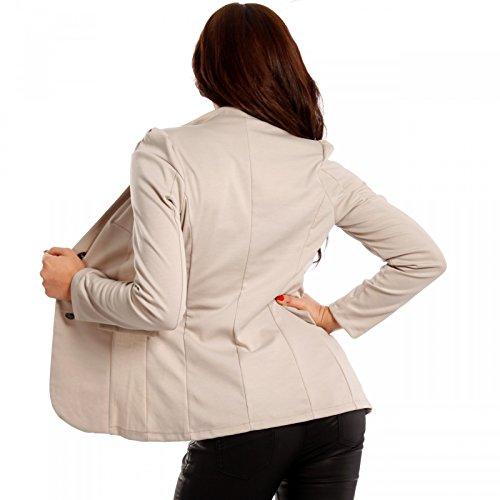 Made Italy - Veste de tailleur - Uni - Manches Longues - Femme Beige