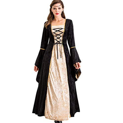 Frauen Retro Kleid Halloween Cosplay Kostüm Dress Up Festival Lange Röcke