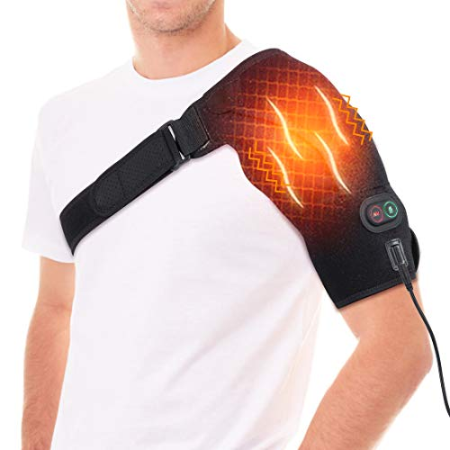 DOACT Cuscinetto Riscaldante per Spalla e Massaggiatore Elettrico 2 in 1, Supporto Bretelle per Donne Uomo Articolazione AC Dislocata, Terapia Calda Avvolgimento Dolore Spalla, Rigidità, Tendinite S