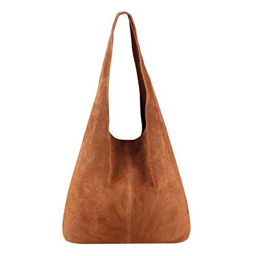 OBC Made IN Italy Damen Leder Tasche Handtasche Wildleder Shopper Schultertasche Hobo-Bag Henkeltasche Beuteltasche Velourleder (Braun (Wildleder)) -