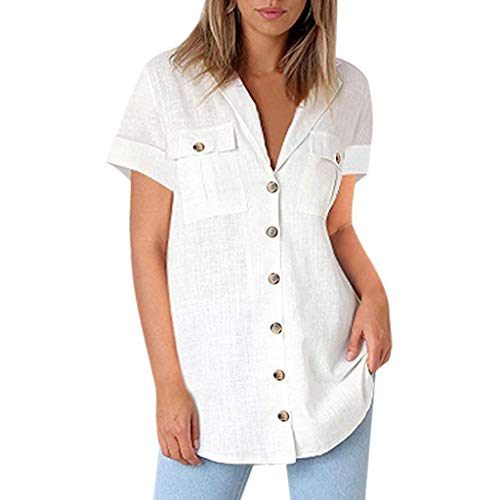 CAOQAO 2019 Sommer Damen Volltonfarbe Sexy Casual Button Shirts Pocket Kurzarmblusen Tuniken Lose Oberteile Hemd Einfarbig (Kostüm ägyptische Tunika)