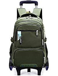 7f1a72332fa37 BOZEVON Kinder Trolley Rucksack - Jungen Schule Schüler Sechs Räder  abnehmbare Dual-Use Trolley…