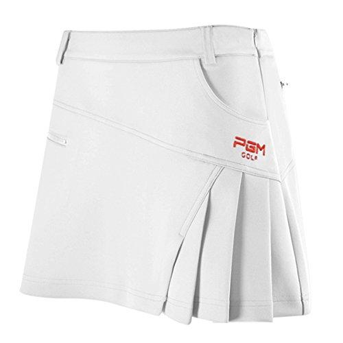 Mädchen Kellerfalte Rock (Damen Skort Golf Rock Sport Rock Integrierte Shorts Sport-Hosenrock, Weiß, L)