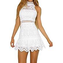 Ansenesna Kleid Damen Sommer A Linie Kurz Spitze Elegant Mini Partykleid  Mädchen Ärmellos Neckholder Für Hochzeit 8695b3a9a3