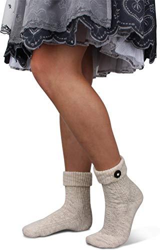 GearUp Lange und Kurze Trachtensocken für Damen | Trachtenstrümpfe fürs Oktoberfest | Kniebundhosenstrümpfe passend zu Dirndl oder Lederhose Farbe Naturmelange mit Trachtenknopf Größe 35/38