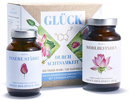 5 Htp Vitamin B (GLÜCK DURCH ACHTSAMKEIT | Ganzheitlicher Stimmungsaufheller für innere Stärke und Gelassenheit | Bakterien- und Mikronährstoff-Komplex | Ashwagandha, 5-HTP, OPC, Ginkgo, Vitamin B-Komplex | 100% Natur)