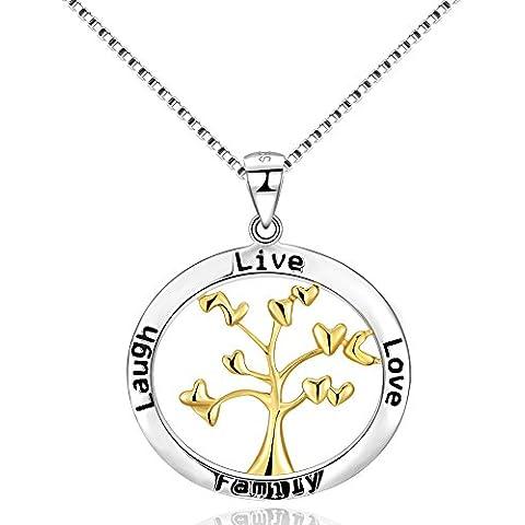 City Ouna® 925 plata esterlina amarillo oro amor familia Navidad árbol de vida ronda colgante collar con la letra