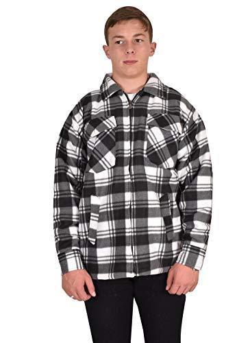 Camicia da boscaiolo, pesante da uomo, foderata in pile sherpa, per un inverno caldo black & white xl