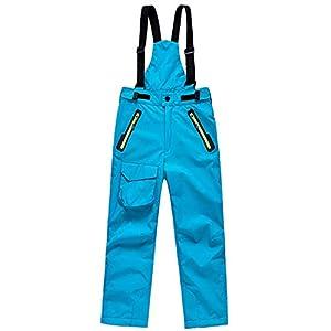 SEEU Kinder Schneehose Skihose Abnehmbare Hosenträge Winddicht Wasserdicht Atmungsaktives Softshell Jungen Mädchen Gefüttert Hose