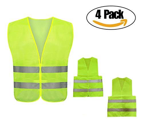 Chalecos de seguridad, Asistencia en carretera, Poliéster, Amarillo neón, Lavable, 4 piezas