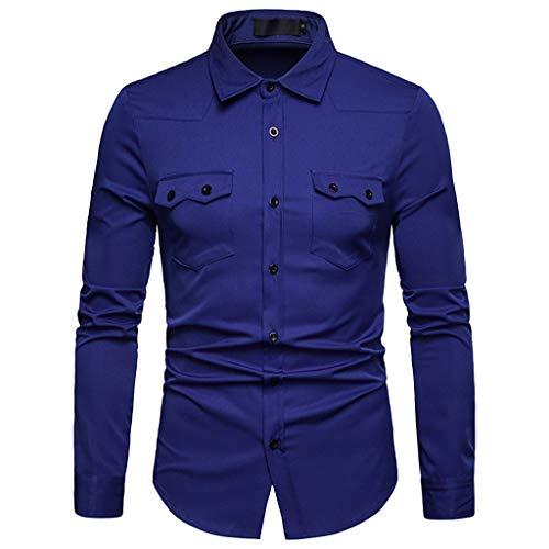 Ufc Kinder Kostüm - ESAILQ Herren Lange Ärmel Gitter Malerei Große Größe Lässige Top Bluse Shirts(X-Large,Dunkelblau)