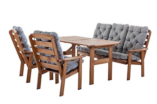 Ambientehome 90397 9 teilig Garten Sitzgruppe Essgruppe Loungegruppe Gartenmöbel Essgarnitur Hanko Maxi mit Kissen, braun/grau