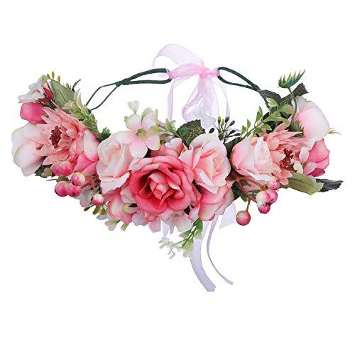 AWAYTR Boho Blumenkrone Stirnband Festival Kopfschmuck - Handgefertigt Blume Haarkranz mit Band Beere Blumenstirnband für Frauen und Mädchen Kleid (Rosa + Weiß)