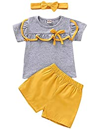 Felicy Newborn Toddler Infant Baby Girls Kids Ruched Ruffle Print Bunny Rabbit Tops T-Shirt Printed Long Pants Leggings Outfits Set Kids Girl Summer Clothes for 2-6 Years Old