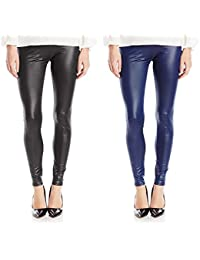 Timbre Women Black N Blue PU Leather Look Like Skinny Legging/Jegging Combo Pack Of 2
