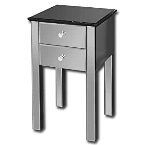 ATYLIA.COM Table de chevet design Miroir 2 tiroirs