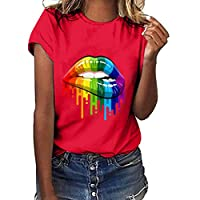 Lazzboy T Shirt Women Colourful Rainbow Lip Print Short Sleeve O Neck Top Ladies Daily Blouse(L(12),Red-ColourfulⅠ)