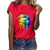 CUTUDE Damen Bluse Sommer Frauen Plus Size Lips Gesture Print Kurzarm T Shirt Weste Oberteil Top (Rot, Large)